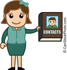 Woman Holding a Contacts Directory