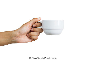 woman holding a cup of coffee, isolated on white