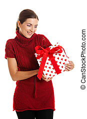 Woman holding a gift