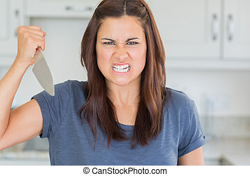 Woman holding a knife