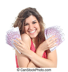 Woman holding a lot of five hundred euro banknotes
