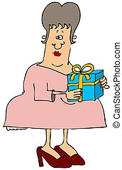 Woman holding a package