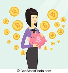 Woman holding a piggy bank with a bitcoin sign. - Young...