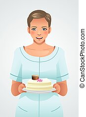Woman Holding a Plate of Cake
