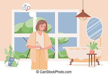Young happy smiling woman holding a pregnancy test with positive result vector flat illustration. Pregnancy test with two lines. Planning a baby, motherhood, pregnant woman concept.