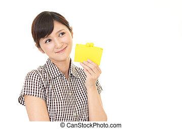 Woman holding a purse