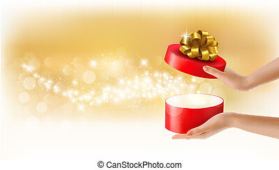 Woman holding a red gift box on holiday background, Vector