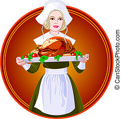 Woman holding a roasted turkey on a plate - Young woman...