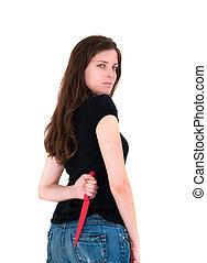 sharp knife - woman holding a sharp knife