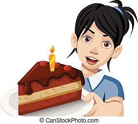 Woman holding a slice of birthday cake on a plate.