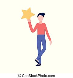 Woman holding a star the icon of rating vector illustration isolated on white.