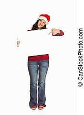 Woman holding a white sign