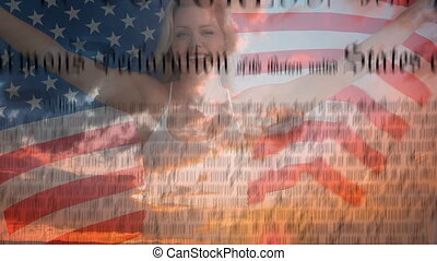 Woman holding American flag with constitution in the screen