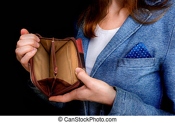 Woman holding an empty wallet, she hasn't money