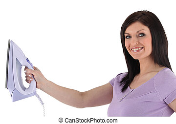 Woman holding an iron