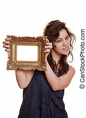 Woman holding an picture frame