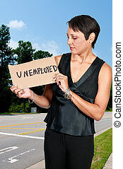 Woman Holding an Unemployment Sign