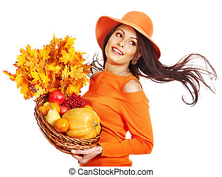 Woman holding autumn basket. - Woman holding autumn basket...