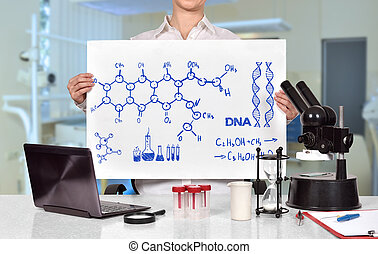 Woman holding banner with drawing chemical scheme - Medical ...