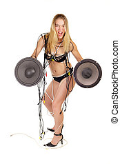 woman holding big loudspeaker
