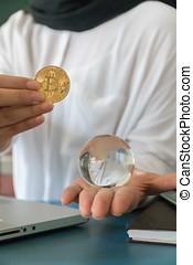 Woman Holding Bitcoin Money