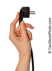 woman holding black euro plug in the hand