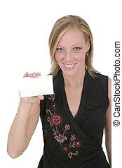 Woman Holding Blank Card 1