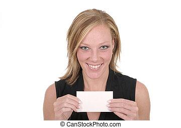 Woman Holding Blank Card 6