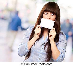 Woman Holding Blank Card