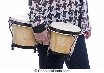 woman holding bongos with white background