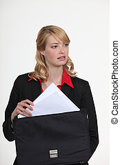 Woman holding briefcase