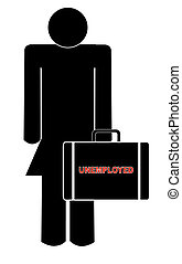 woman holding briefcase with the words - unemployed
