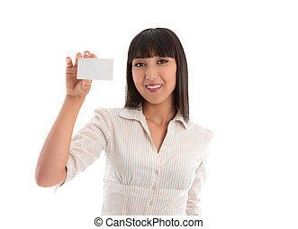 Woman holding business card - Smiling woman holding up a ...