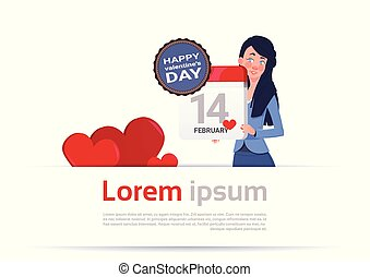 Woman Holding Calendar Page 14 February Happy Valentines Day...