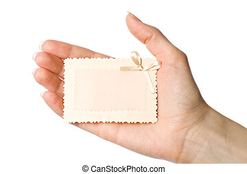 Woman holding card in the hand