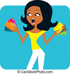Illustration of woman holding several credit cards in her hands and looking surprised