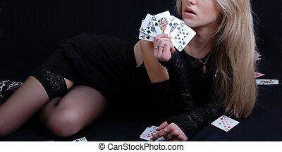 woman holding cards  - woman holding playing cards