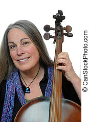 Woman holding cello smiling
