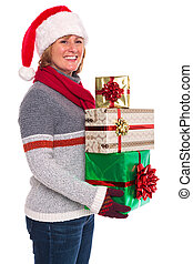 Woman holding Christmas presents isolated