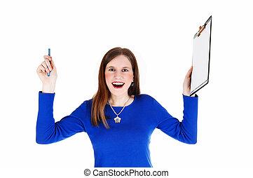 Woman holding clip board.