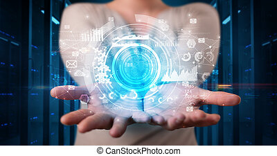 Woman holding concentric hologram projection