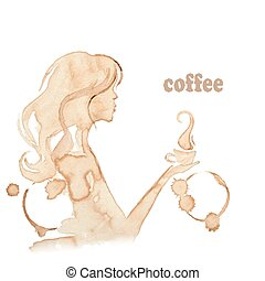 girl holding a cup of coffee, vector
