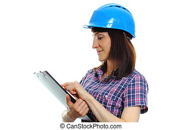 Woman holding documents and wearing protective blue helmet