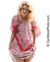 woman holding dress
