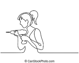 Woman holding drill tool - Continuous line drawing. Woman...