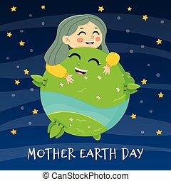 Woman holding ecology world Earth day. Happy girl. Mother nature care concept.