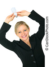 Woman Holding Energy Save Light Bulb