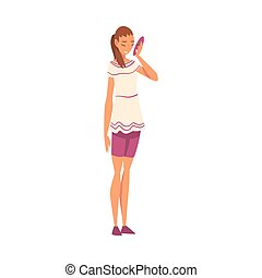 Woman Holding Face Mask, Girl Changing and Hiding Her Emotions Vector Illustration