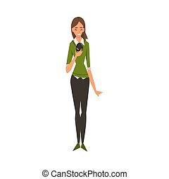 Woman Holding Face Mask, Girl Changing Her Personality or Individuality to Conform to Social Requirements Vector Illustration