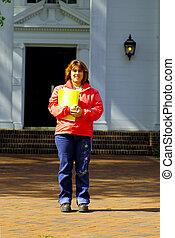 Woman Holding Folder